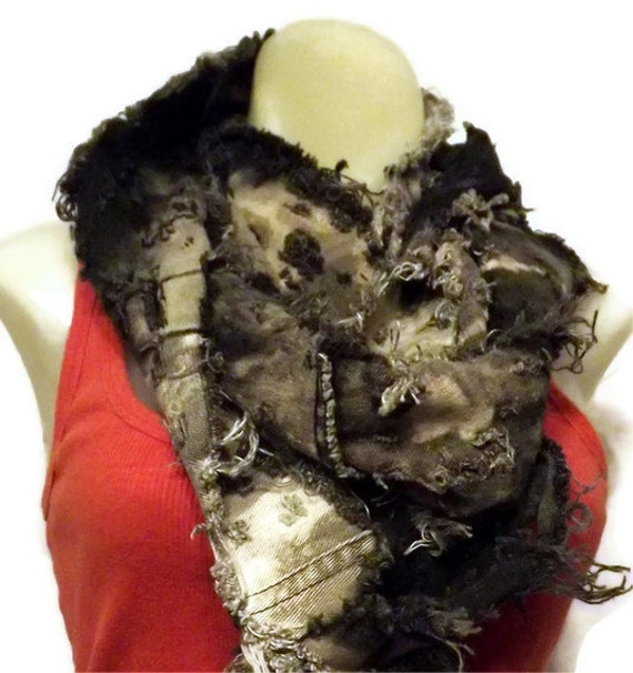 Scarf-Denim Cotton Upcycled Eco Black Tattered Distressed