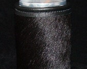 Montana Cowhide Leather Can Insulator in Purest of Black Cowhide Leather
