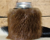 The Absolute Ultimate Beverage Experience - Genuine Beaver Pelt Red Sky Can Insulator