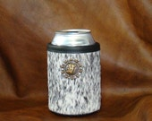 Montana Cowhide Can Beer or Soda Insulator- Black and White/Salt and Pepper with Bull Rider