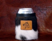 Quarter Horse Accent On A Cowhide Leather Can Insulator - Dark Brown & White Cowhide Beverage Holder