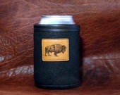 Bison Leather Can Koozie with Bison Leather Patch Concho- Black Color