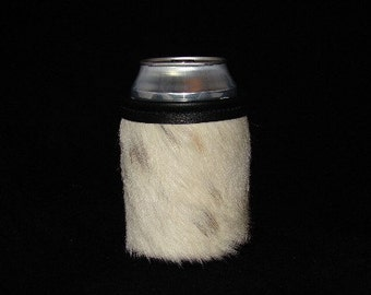 Western White Cowhide  - Cowhide Leather Can Beverage Holder - Beer Can Beverage Holder - Men's Gift  - Women's Gift - Beer Can -