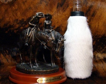 Wedding - Groom - Groomsmen - For The Bride - Beer Holder - Beverage Coolie -   Leather Cowhide Beer Bottle Insulator - White - Black