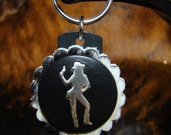 Got Cowgirl Attitude Key Ring/ Beer Bottle Opener - Leather Keychain