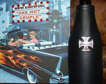 Mens Gift - Motorcycle Theme - Black Leather Beer Holder - Silver Malteese Cross - Motorcycle Beverage Holder - Beer Coolie - Beer Insulator