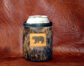 Bear In The Woods - Cowhide Leather Brown Brindle Can Insulator - Bear Leather Concho