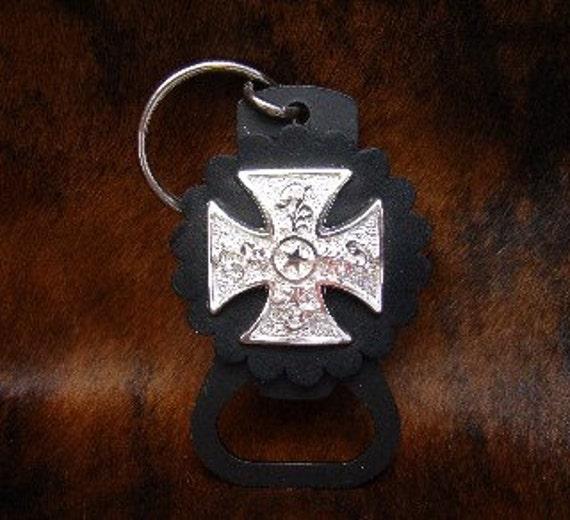 Silver Maltese Cross Key Ring /Beer Bottle Opener