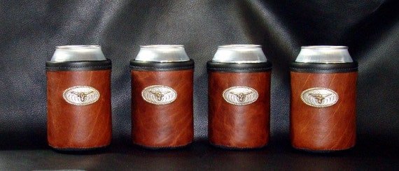 Set of 4 - Rich and Classic Bison Leather Can Insulators In a rich Bisonr with Texas Longhorn Rope Concho
