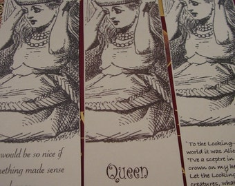 Set Two Queen Alice B&W - Set of 6 Bookmarks - Color Your Own
