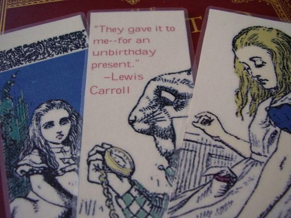 Set One Alice in Wonderland - Set of 3 Bookmarks (laminated)