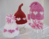 VALENTINE BABY HAT - Knitted Kiss or Beanie Hat for Newborn Baby, White, Red or Pink Heart, Photography Prop