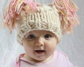 Irish Knitted Jester Hat For Newborn in Bobble Pattern.  Cream with Pink, Cream and Brown Accents in the Tassels, Photography Prop