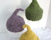 Knitted Elf Hat for Newborn Baby, Purple, Green, or Yellow Yarn, Photography Prop