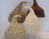 Knit * BABY BOY HAT - Kiss Elf Hat for Newborn Baby, Naturals - Dark Brown, Medium Brown, Ivory or Cream Acrylic Yarn, Photography Prop