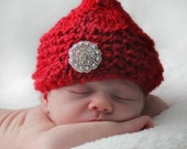 Knitted Kiss Elf Hat for Newborn Baby, Red or Pink Acrylic Yarn, Photography Prop