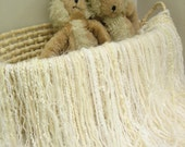 """Fringed Blanket 2' x 2' Fringe-Oodles """"Under"""" in White and Ivory Novelty Yarns for Baby Pictures and a Photography Prop"""
