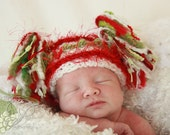 CHRISTMAS  BABY HAT Crocheted Jester Hat in Red, White and Green Yarn with Bobbles & Eyelash Trim and Novelty Yarn Tassels  Photography Prop