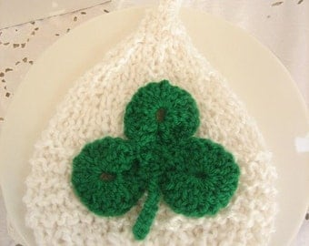 IRISH St PATRICK'S Day HAT - Knit Elf Hat with Crocheted Shamrock for Baby - Photography Prop