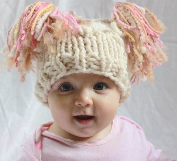 Irish Knitted Jester Hat For Baby in Bobble Pattern. Cream