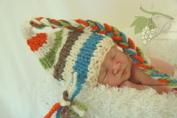 KNIT BABY HAT - Stripes of 4 Colors - Pinks, Plum, Green and Ivory with Long Braid, Photography Prop