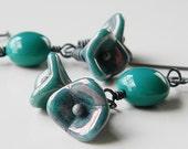 Ocean Blue Picasso Flower Oxidized Sterling Silver Dangle Earrings - Anemone