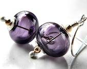Lampwork Earrings, Amethyst Purple Lampwork Hollow Sterling Silver Dangle - Blackberry
