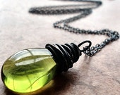 Absinthe Green Teardrop Oxidized Copper and Sterling Silver Necklace - Aloe
