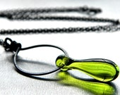 Olive Green Lampwork Teardrop Oxidized Sterling Silver Necklace - Sylph