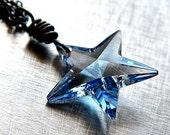 Blue Star Necklace, Icy Sky Blue Swarovski Crystal Star Oxidized Sterling Silver Wire Wrapped - Wishing