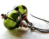 Olive Green Lampwork Earrings, Forest Green Lampwork Hollow Antiqued Brass Earrings - Elf