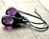 Amethyst Earrings, Violet Purple Gemstone February Birthstone Oxidized Sterling Silver Wire Wrapped - Sugarplum