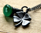 Four Leaf Clover Necklace, Shamrock Lucky Charm Green Onyx Oxidized Sterling Silver Necklace St. Patrick's Day Jewelry - Irish