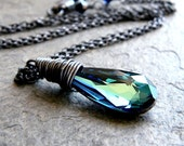 Peacock Crystal Necklace, Teal Blue Green Swarovski Crystal Oxidized Sterling Silver Pendant Necklace Women's Jewelry - Sorceress