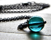 Simple Glass Necklace, Ocean Blue Green Czech Glass Antiqued Brass - Clearwater