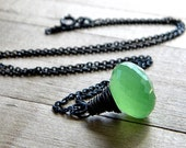 Green Chalcedony Necklace, Melon Citrus Lime Green Gemstone Oxidized Sterling Silver Wire Wrapped Necklace Summer Fashion  - Zest