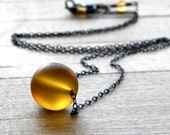 Simple Glass Necklace, Frosted Amber Yellow Oxidized Sterling Silver - Beekeeper