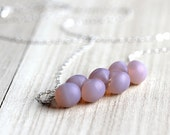 Silver Necklace, Frosted Pink Opal Czech Glass Sterling Silver - Softness