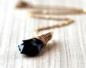 Black Crystal Necklace, Jet Black Swarovski Crystal Briolette 14k Gold Filled Wire Wrapped Necklace - Luxe