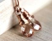 Oregon Sunstone Earrings, Vanilla Peach Pink 14k Rose Gold Filled Earrings Romantic Autumn Fashion - Emberglow