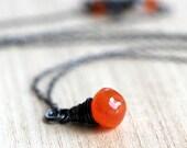 Carnelian Necklace, Tangerine Tango Orange Gemstone Oxidized Sterling Silver Wire Wrapped Necklace Carnelian Jewelry - Blaze