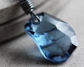 Crystal Necklace Montana Blue Swarovski Crystal Divine Rock Oxidized Sterling Silver Necklace - Zen