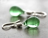 Green Glass Earrings, Spring Green Teardrop Sterling Silver Dangle Earrings - Irish Spring