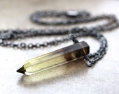 Bicolor Quartz Point Necklace, Smoky Brown and Lemon Yellow Quartz Crystal Icicle Oxidized Sterling Silver Necklace - Sweet Tea