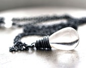 Clear Quartz Necklace, Big Smooth Clear Rock Crystal Quartz Teardrop Oxidized Sterling Silver Necklace - Soothsayer