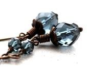 Denim Blue Glass Earrings, Dark Ink Montana Blue Glass Long Antiqued Brass Dangle Earrings  - Deluge