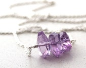 Lavender Amethyst Necklace, Pastel Lilac Purple Stone Nugget Sterling Silver Necklace February Birthstone Amethyst Jewelry Spring Fashion