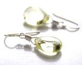 Lemon Yellow Glass Teardrop Sterling Silver Dangle Earrings Summer Fashion - Citrus