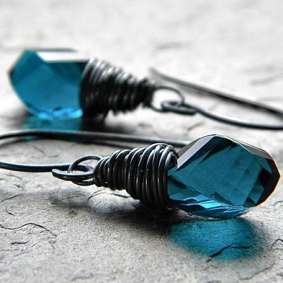 Dark Teal Quartz Twists Sterling Silver Dangle Earrings - Loch