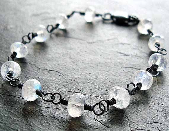 Moonstone Bracelet, Rainbow Moonstone Oxidized Sterling Silver Wire Wrapped Bracelet - Twilight